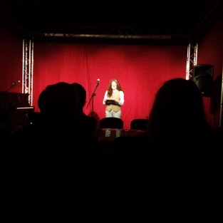 Elizabeth Porter giving a beautiful reading as part of Different Skies Spoken Word set