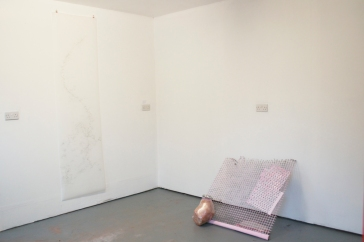 Installation shot of work by Pippa Eason and Elizabeth Porter in the artist studio space at Florence Arts Centre